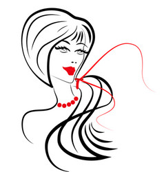 Women long hair style icon women on white vector