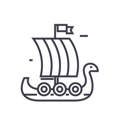 wooden viking ship line icon sign vector image