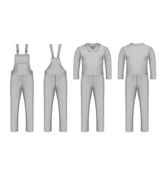 Workwear icon set realistic style vector