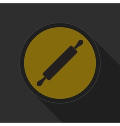 yellow round button with black rolling pin icon vector image