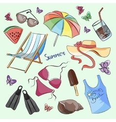 Collection of summer symbols vector image