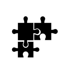 puzzle pieces object shape work silhouette vector image
