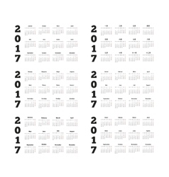 Set of 2017 year simple calendars on different vector image