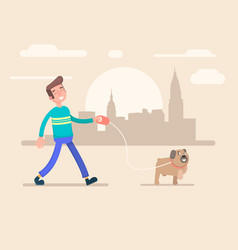 young man walks in the park with his dog vector image