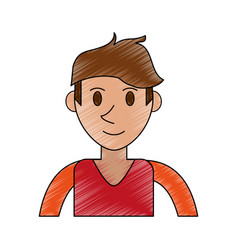 color pencil cartoon front view half body man with vector image vector image