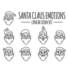 Santa Claus character Emotions icon set Merry vector image vector image