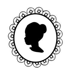 silhouette portrait face girl image vector image