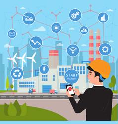 Smart factory concept businessman manages plant vector