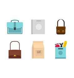 bag icon set flat style vector image