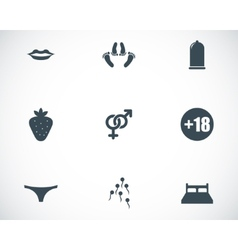 black sex icons set vector image