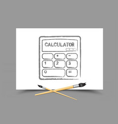 drawing calculator on white paper vector image vector image