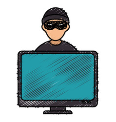 Hacker with computer avatar character vector