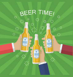 hands with a bottle of beer vector image vector image