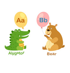 isolated alphabet letter a-alligatorb-bear vector image
