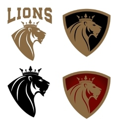 Set of lion heads with crown vector image