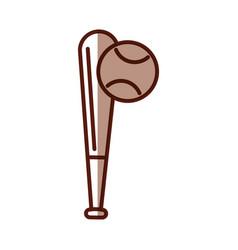 shadow baseball ball and bat vector image