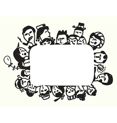 Frame with faces funny design vector image vector image