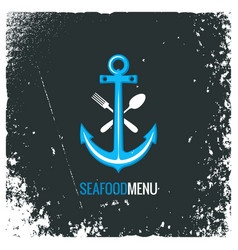 seafood logo with anchor fork and spoon vector image vector image
