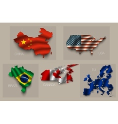 Set of five great states superpowers vector image vector image