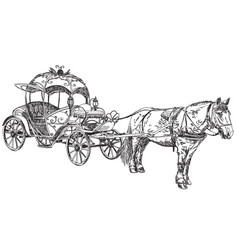 - beautiful carriage with horse vector