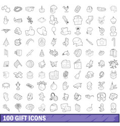 100 gift icons set outline style vector