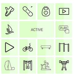 14 active icons vector