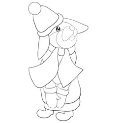 a coloring bookpage a rabbit wearing a christmas vector image