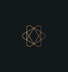 Abstract line art diamond in star logo icon vector