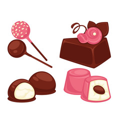 assortment candies with different toppings and vector image