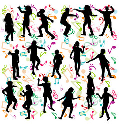 background with silhouettes children dancing vector image