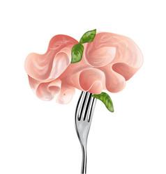Baked ham on fork vector