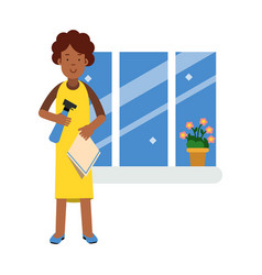 Beautiful young black woman washing window with vector