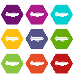 Blimp aircraft flying icon set color hexahedron vector