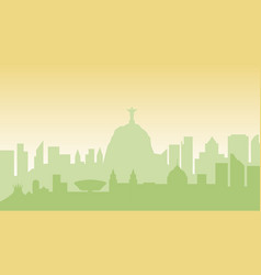 brazil silhouette architecture buildings town city vector image vector image