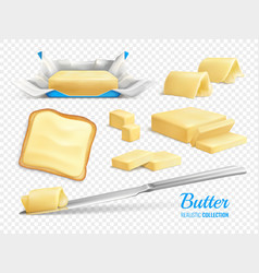 Butter realistic set vector