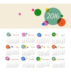 Calendar for 2016 with circles Week Starts Sunday vector image