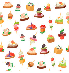 canapes tapas on piece bread appetizer dish vector image