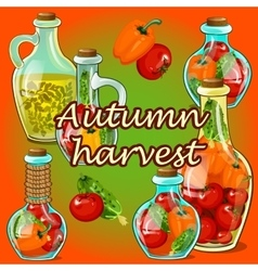 Canned vegetables in the fall autumn harvest vector