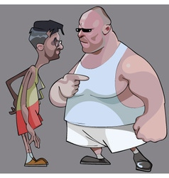 Cartoon comic thin man and the fat man talk vector