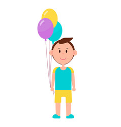 cheerful boy with color baloons bright picture vector image