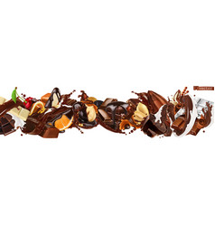 Chocolate mix splashes with fruits nuts caramel vector