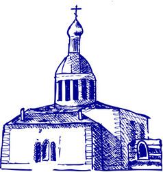 Church with cross vector