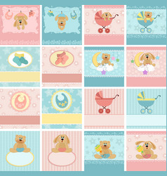 Collection of babys postcards vector