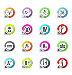 Connected people social network human icons set vector