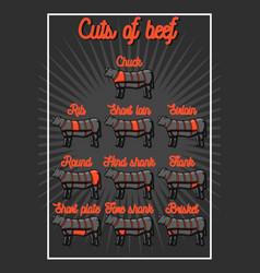 cut of beef set vector image