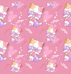 cute cat with pattern set vector image