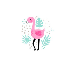 cute flamingo in circle vector image