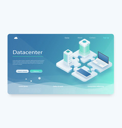 datacenter hosting server or data center concept vector image