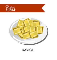 delicious small italian ravioli on shiny plate vector image