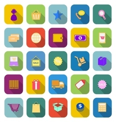 E commerce color icons with long shadow vector
